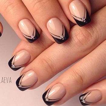 Дизайн ногтей 2017: черный френч (3)