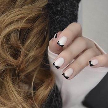 Дизайн ногтей гель лаком: черно-белый френч