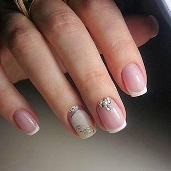 Дизайн ногтей гель лаком: френч с декором