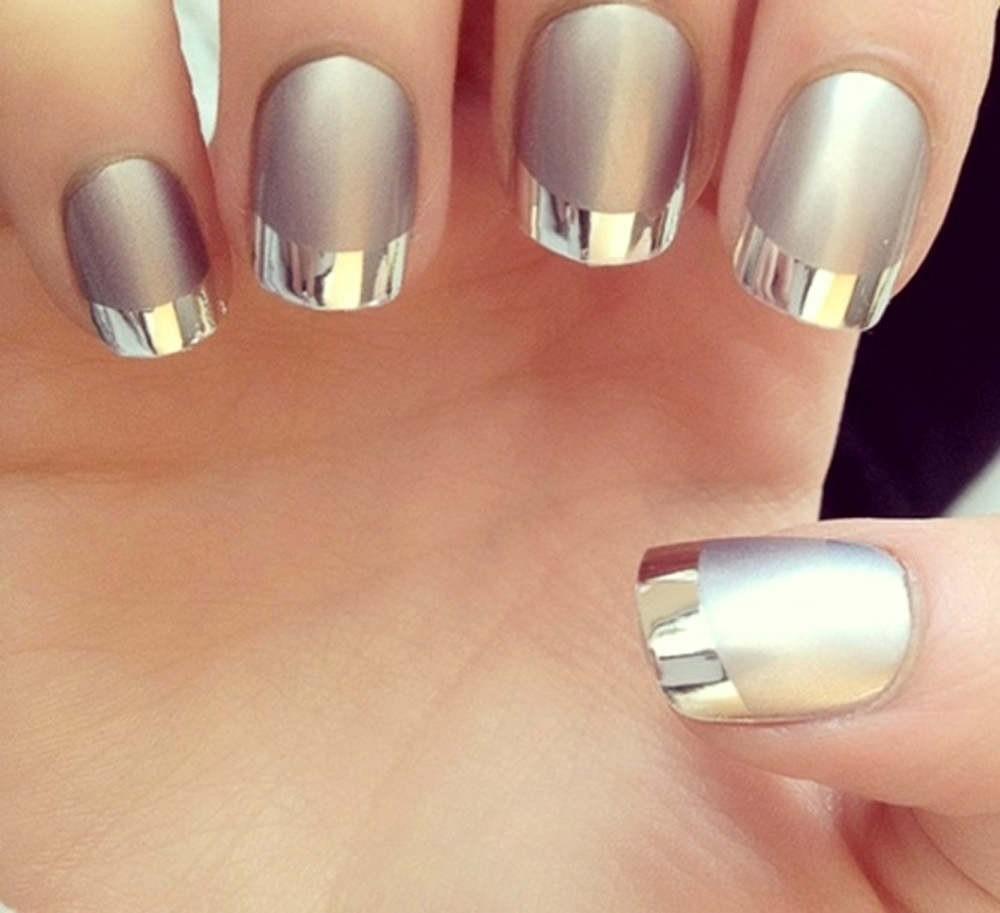 Маникюр на короткие ногти 2017: металлик