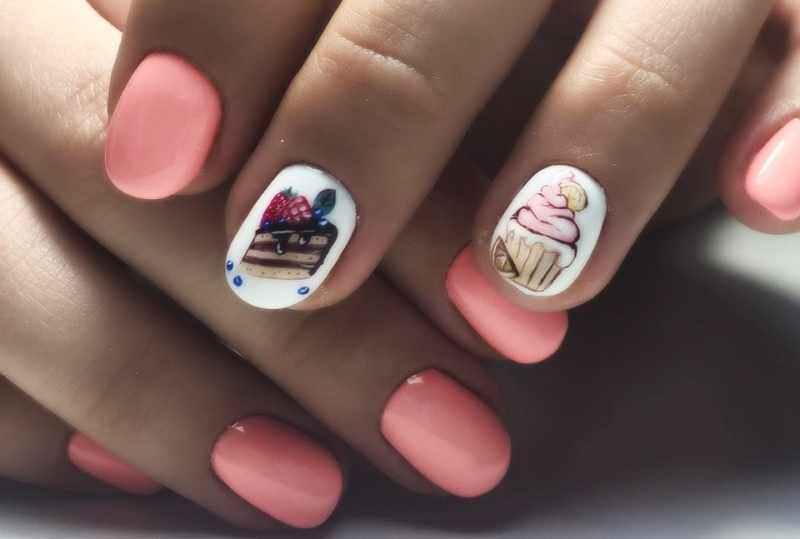 Маникюр на короткие ногти дизайн 2017: тортик