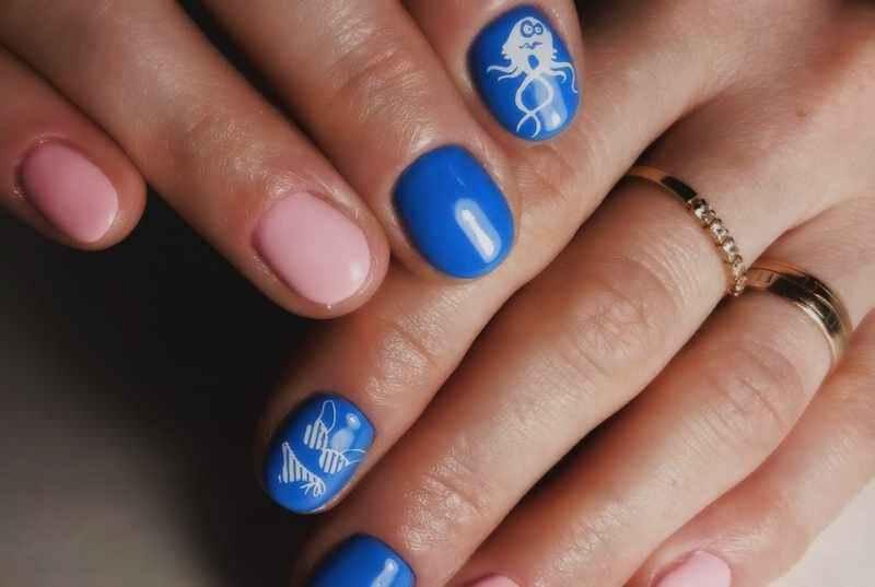 Маникюр на короткие ногти дизайн 2017 шеллак: море