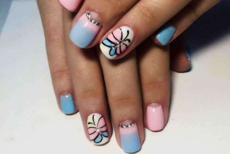 Маникюр на короткие ногти дизайн 2017: бабочки