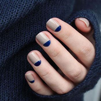 Дизайн ногтей гель лаком: лунный синий с бежевым