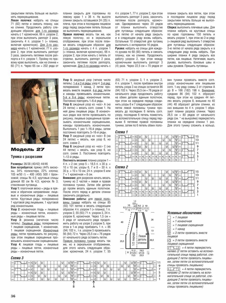 Вязание крючком для женщин лето 2017: туника с разрезом