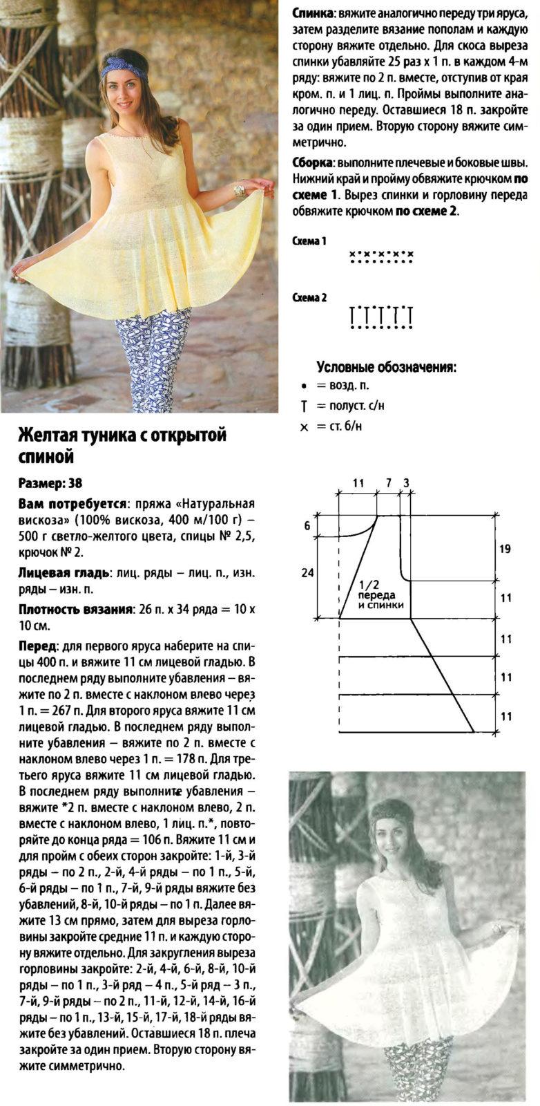 Вязание спицами для женщин модели на лето: туника
