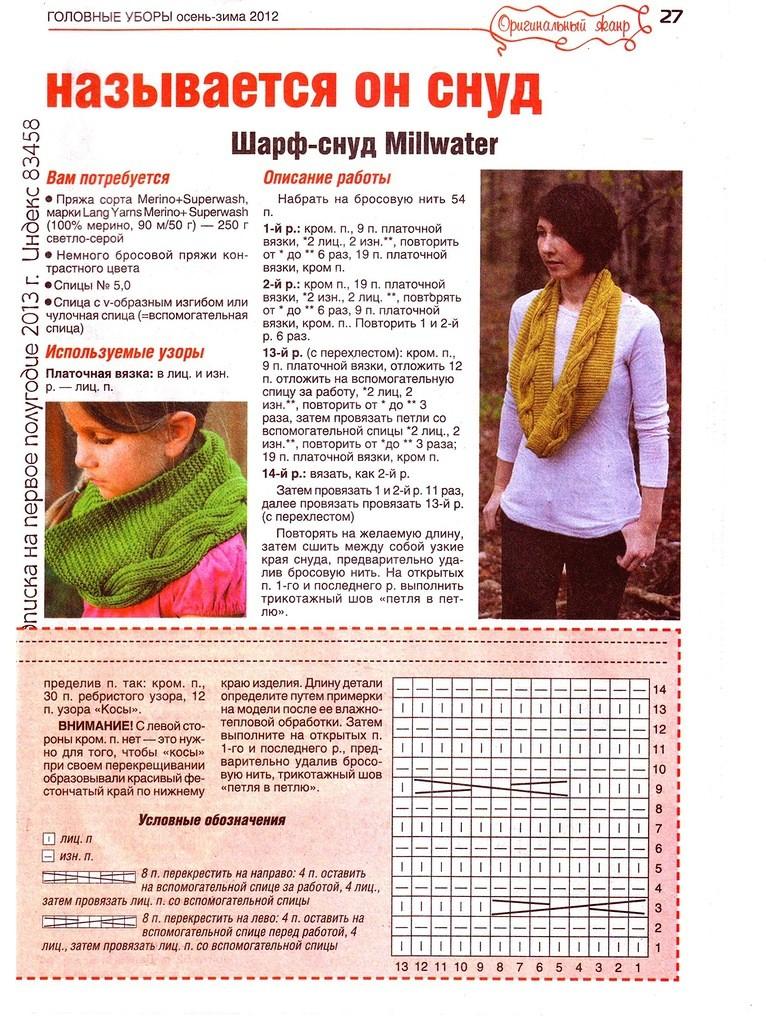 Простая схема вязания шарф хомут спицами 57