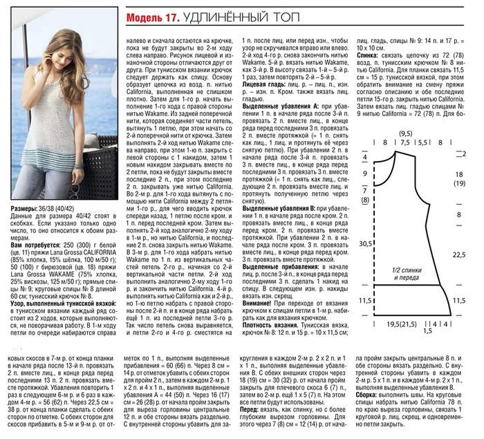 Вязание спицами для женщин модели на лето: удлиненный топ