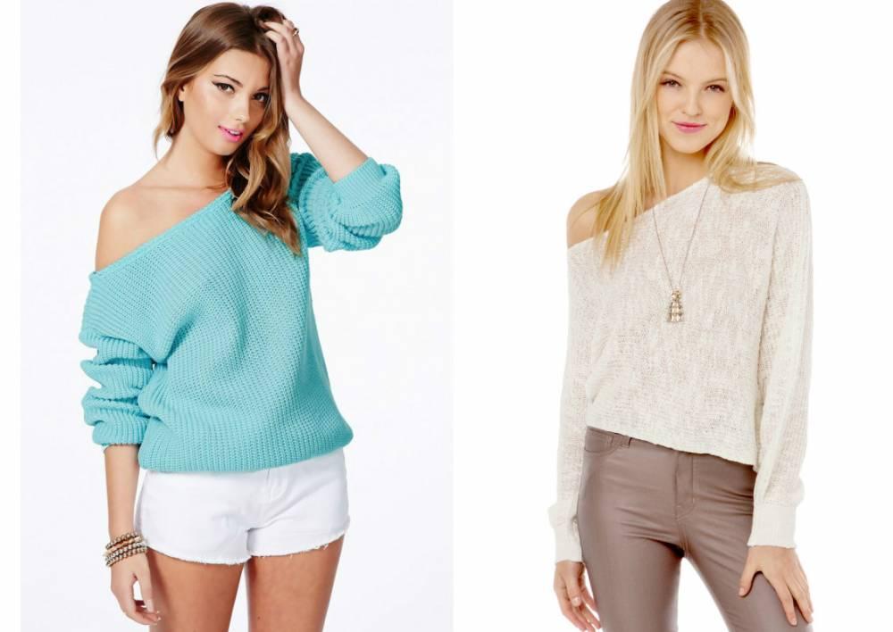 Вязание спицами для женщин: модные модели 2017: свитер на одно плечо