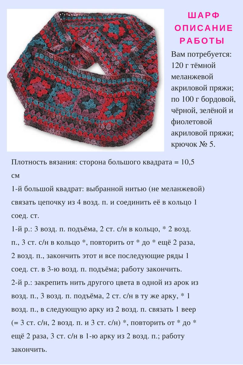 шарф снуд ажурный спицами схема вязания