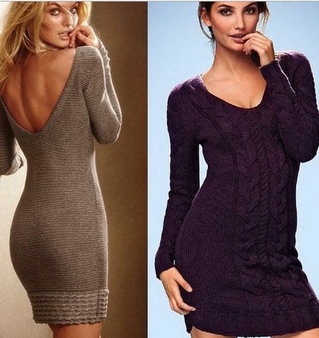 Вязание спицами для женщин: модные модели платьев 2017