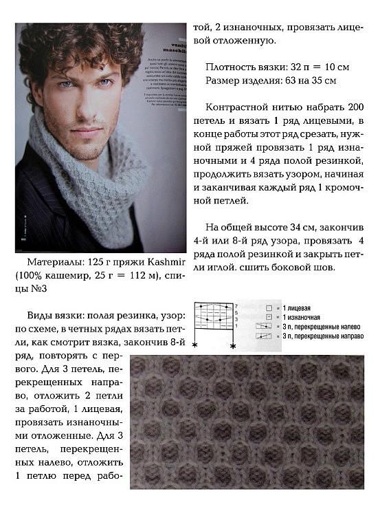 Вяжем мужские шарфы спицами схемы и описание 170