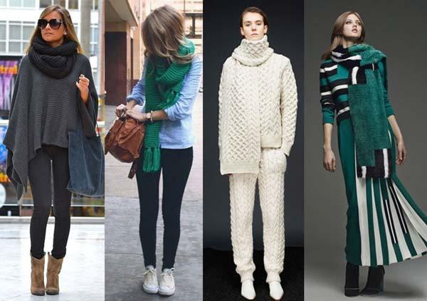 Вязание спицами для женщин: модные модели шарфов 2017