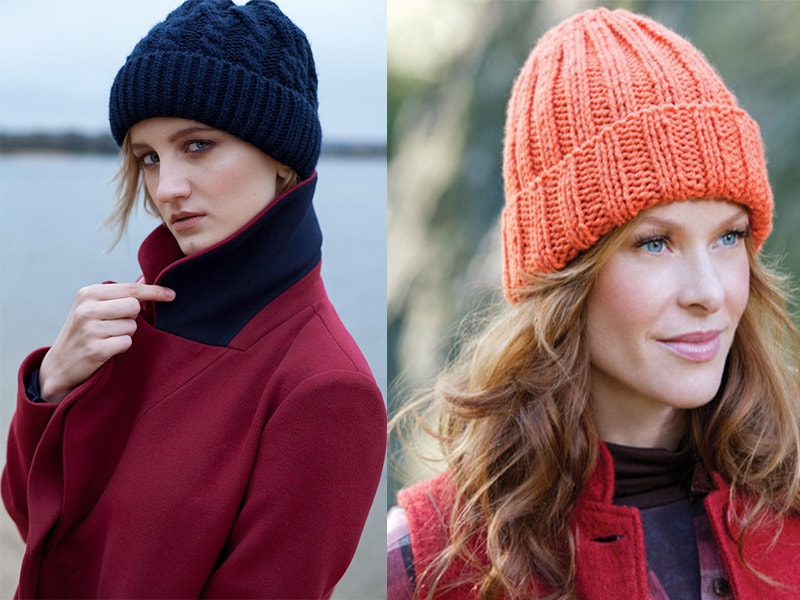 Вязаные шапки: новые модели зима 2018 (с отворотом )