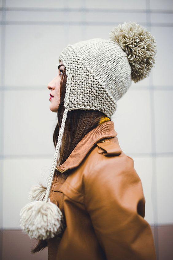 Вязаные шапки: новые модели зима 2018 (ушанка)