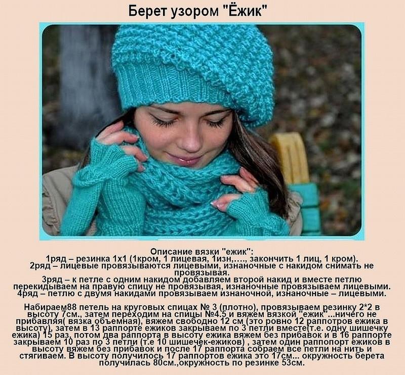 Вязание спицами для женщин: берет с узором ежик