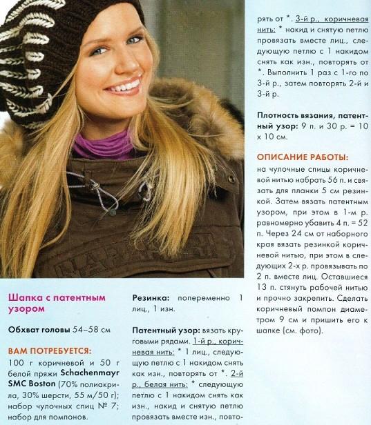 Вязание спицами для женщин: берет с патентным узором