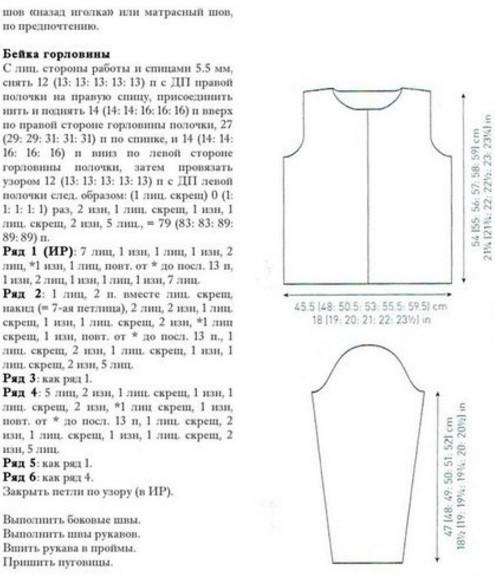 Вязание кардигана спицами для женщин: бейка горловины