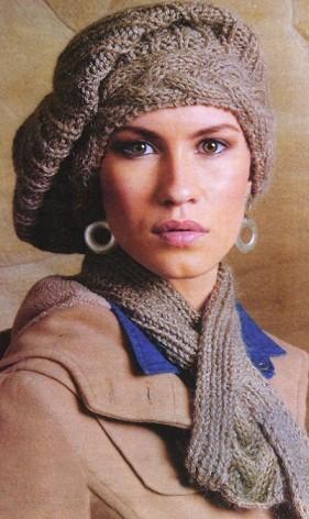 Вязание спицами для женщин: берет с косами