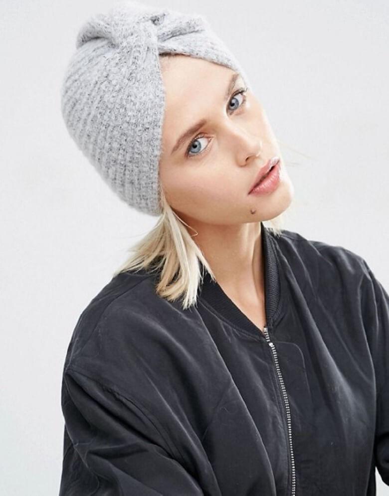 Вязаные шапки: новые модели зима 2018 (чалма)