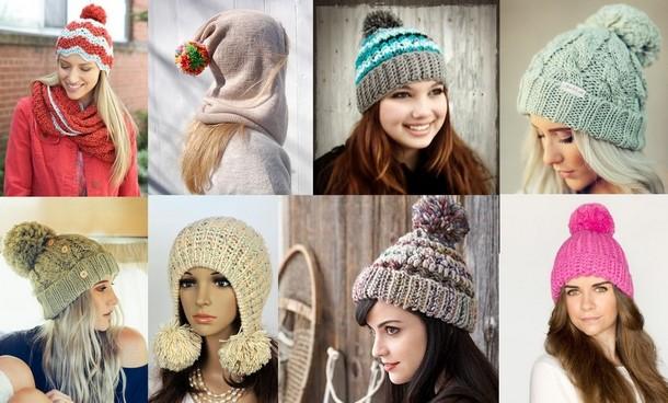 Вязаные шапки: новые модели зима 2018 ( с помпоном)