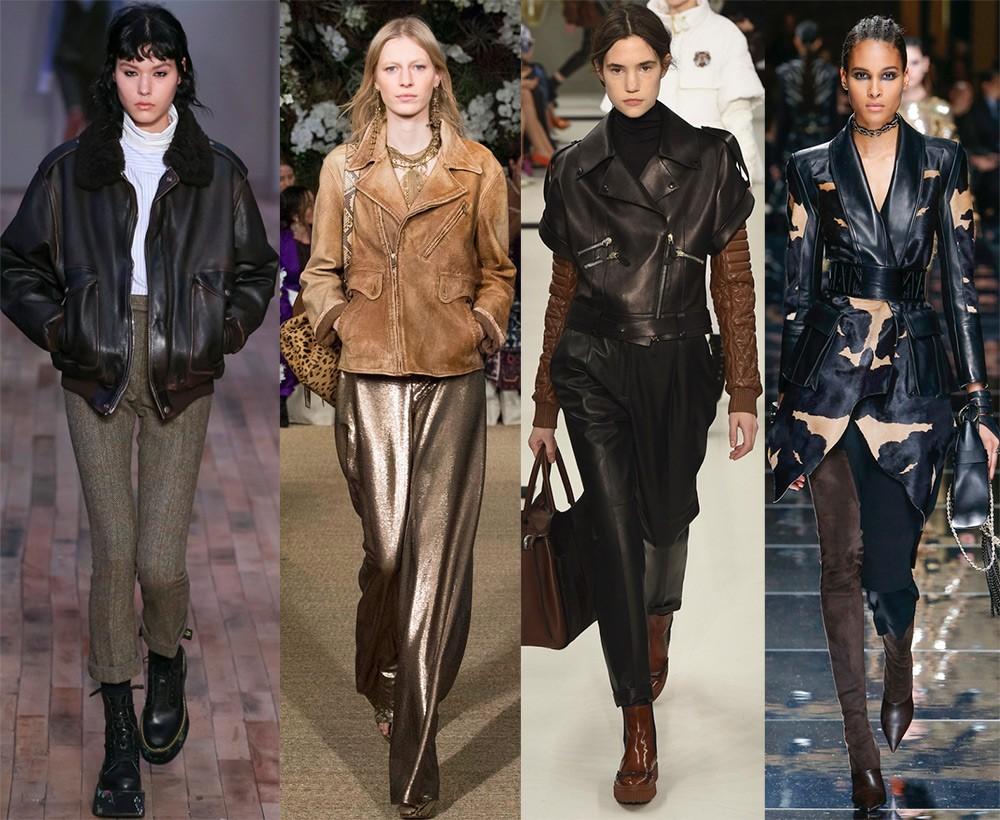Женские куртки осень-зима 2017-2018: кожаные модели