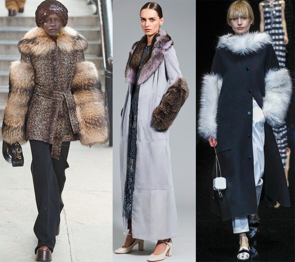 Пальто осень 2017 года: меховые рукава