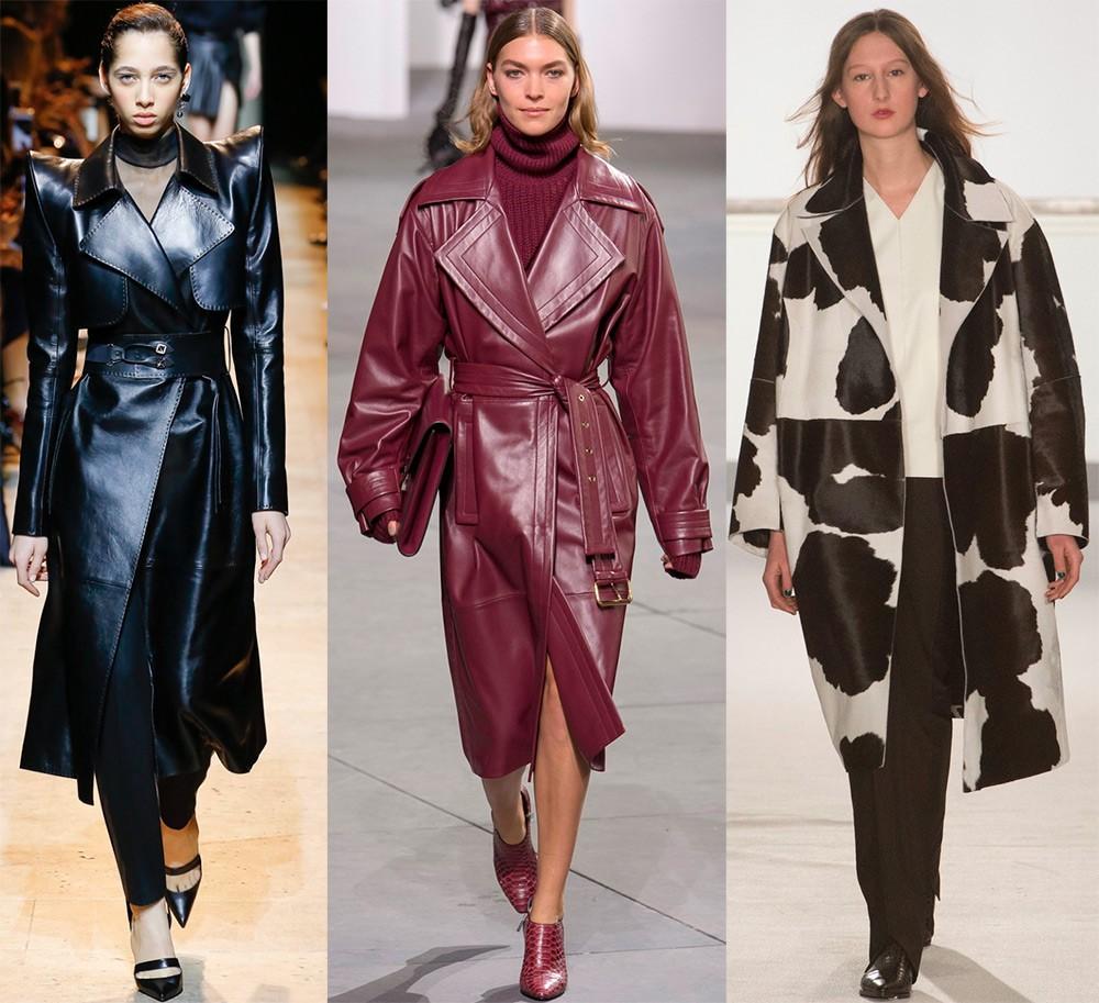 Пальто осень- зима 2017- 2018: кожаные