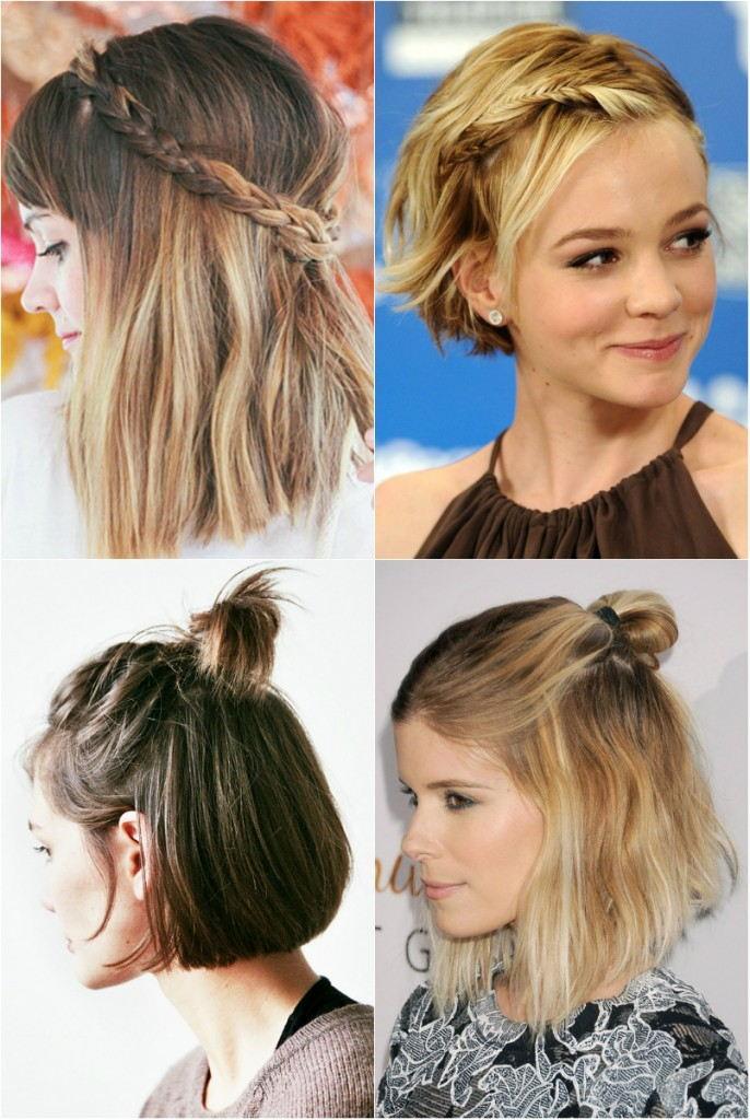 Прически 2018 женские на средние волосы: косы и пучки