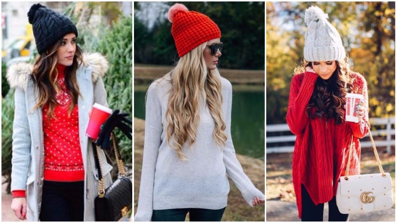 Модная шапка бини спицами: с помпоном