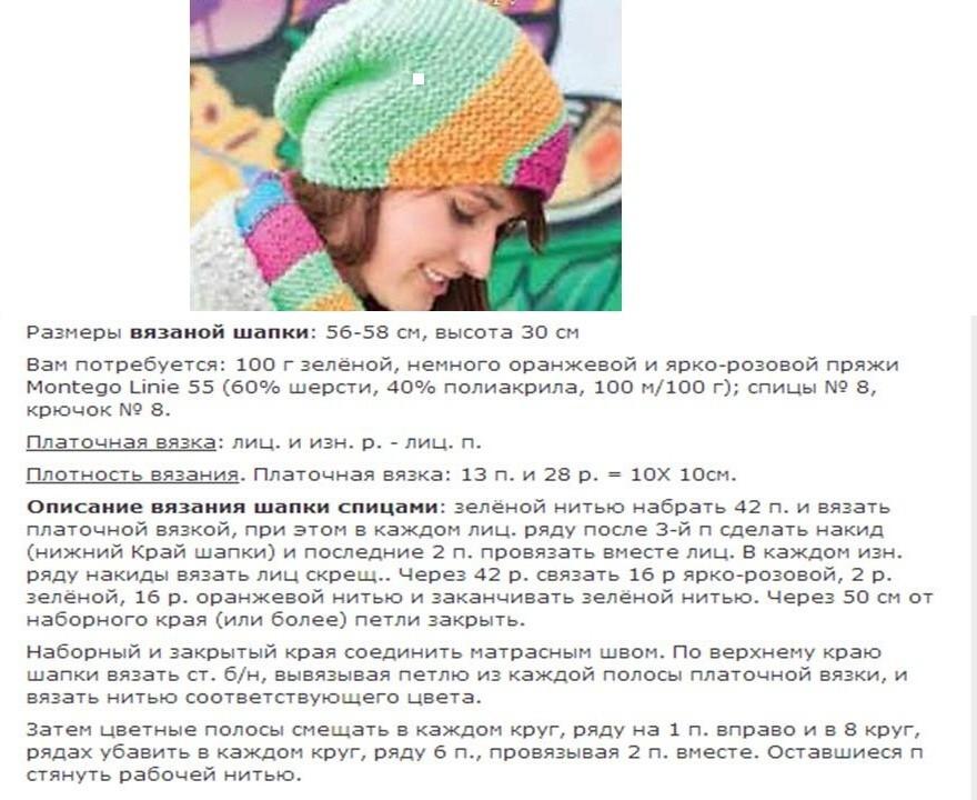 Схема вязания шапки бини платочной вязкой 94