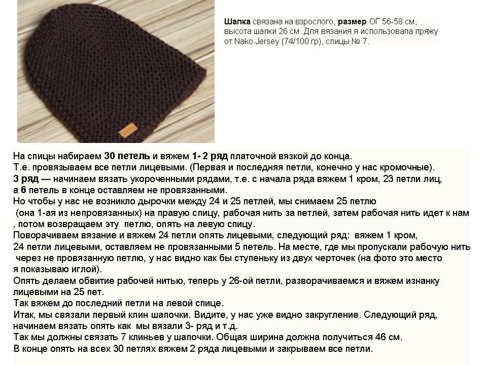 Как связать простую шапку спицами схема