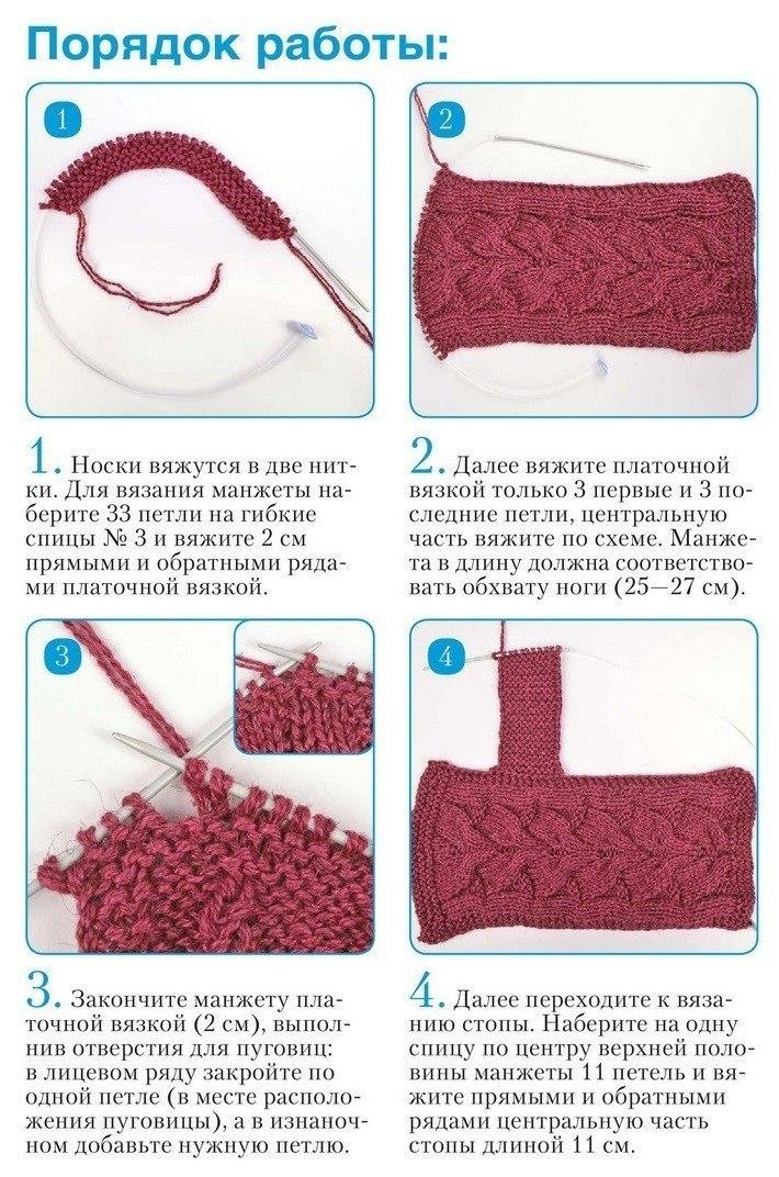 Тапочки-сапожки спицами: шаг 2