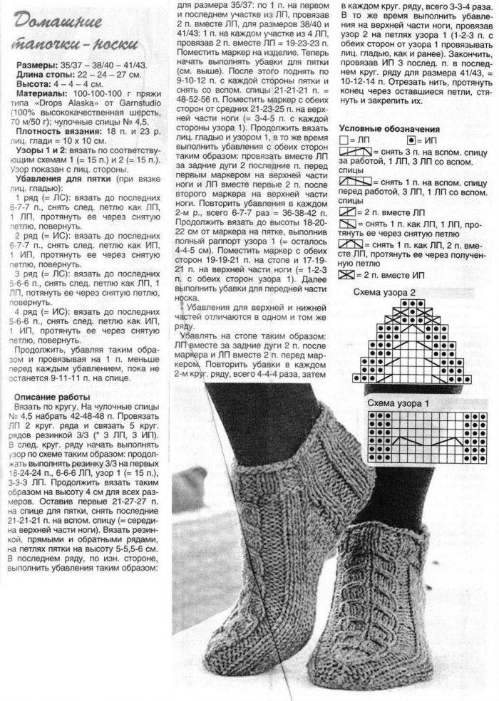 Вязаные тапочки-носки спицами