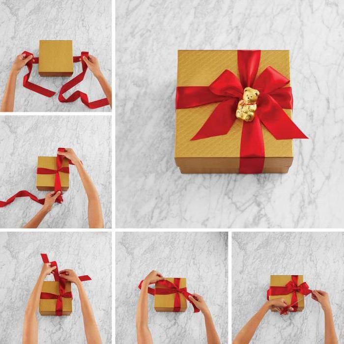 Как завязывать бантики из атласной ленты на подарок