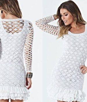Нежное белое платье крючком