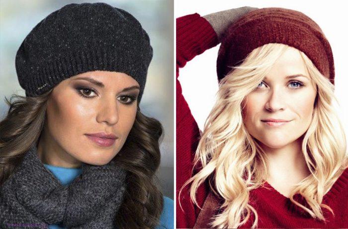 Вязаные шапки для женщин 50 лет: насыщенные оттенки