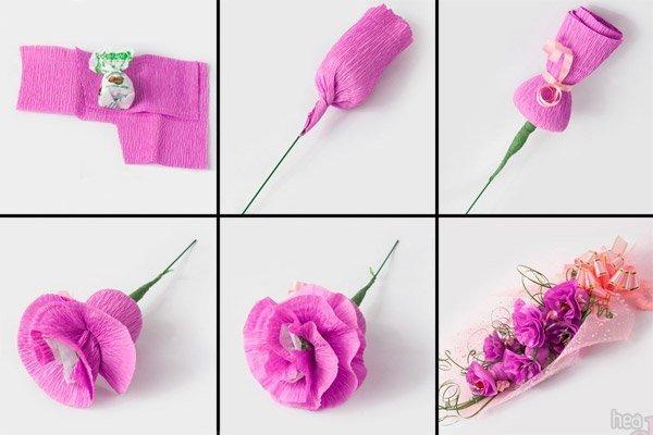 Маленькие цветы из гофрированной бумаги своими руками фото 429