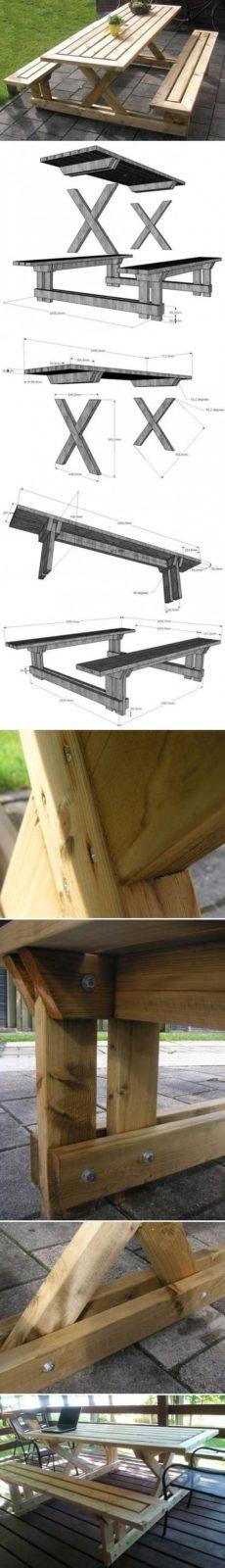 Садовая мебель своими руками: стол с лавочками