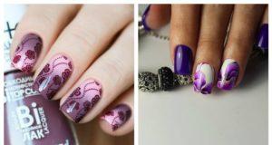 Фиолетовые рисунки на ногтях