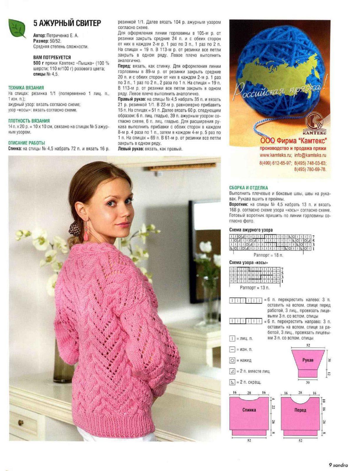 Вязание спицами для женщин модные модели свитеров: схема 1