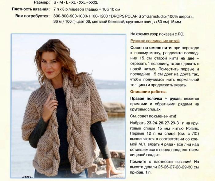 Вязание спицами для женщин модные модели кофт: схема 3