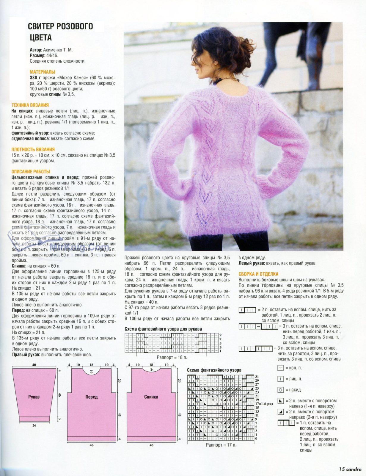 Вязание спицами для женщин модные модели свитеров: схема 2