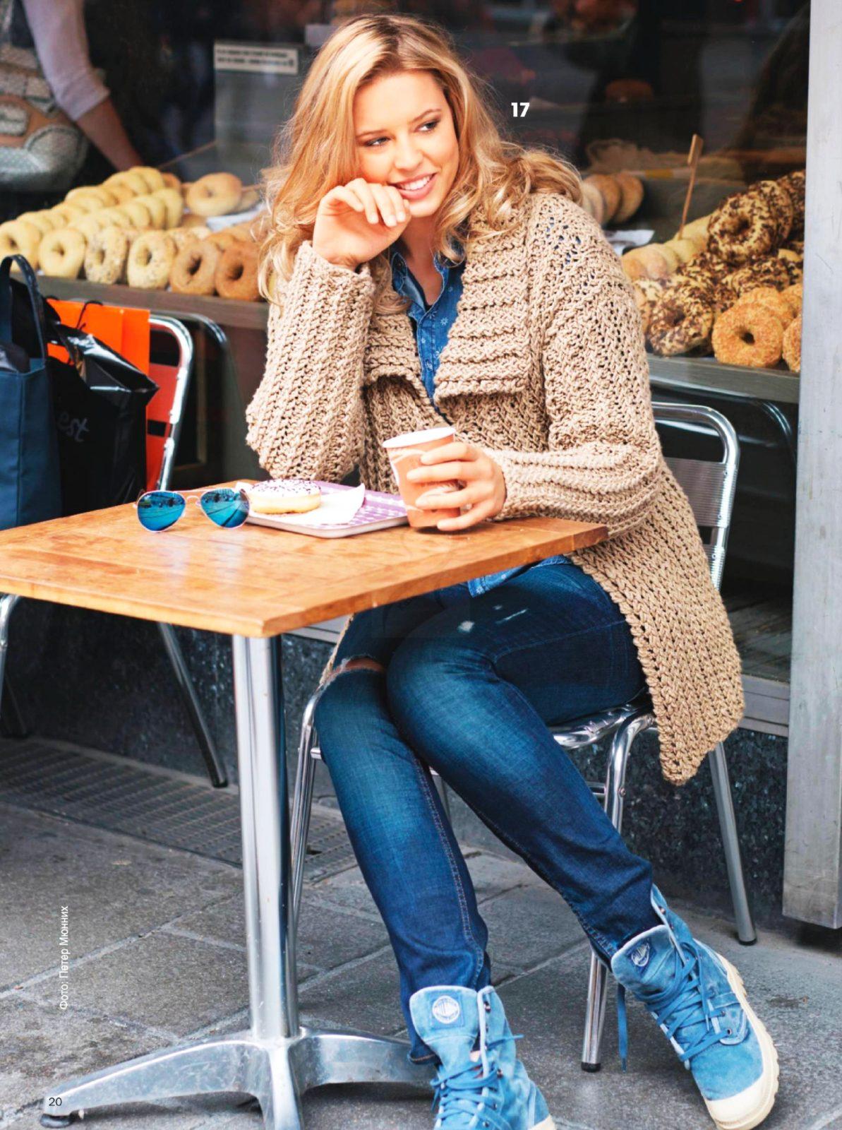 Вязание спицами для женщин модели 2018: коричневый кардиган