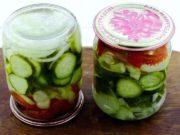 Вкусный салат на зиму из помидоров и огурцов