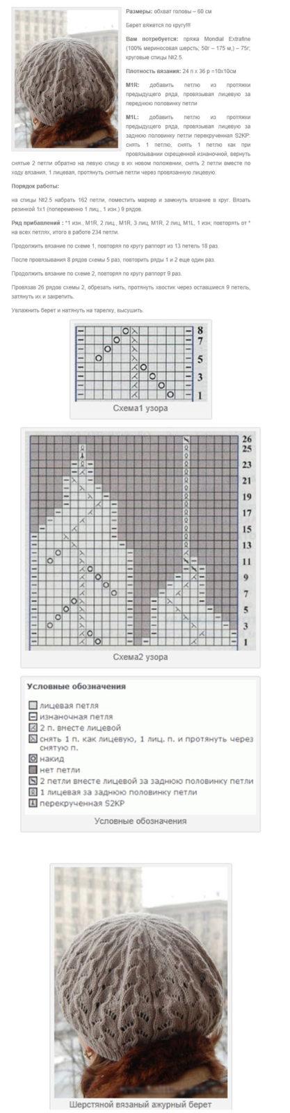 Берет спицами: схемы и описание 5