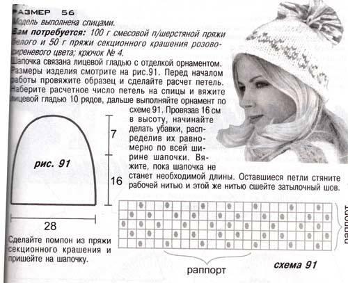 Вязание шапки спицами с отворотом: с помпоном и рисунком