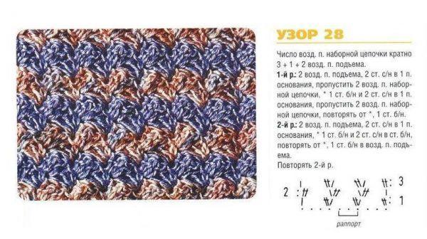 Мужской шарф крючком: схема 2