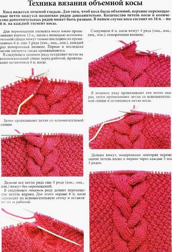 Как вязать узор коса