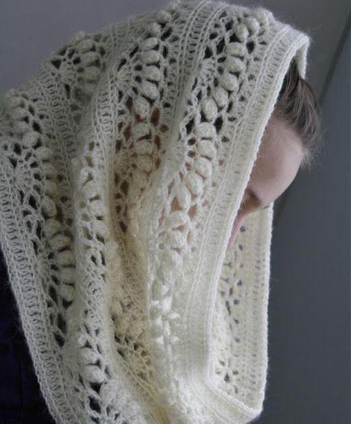 Ажурный шарф-снуд крючком